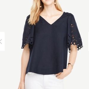 Eyelet puff sleeves summer blouse navy  top